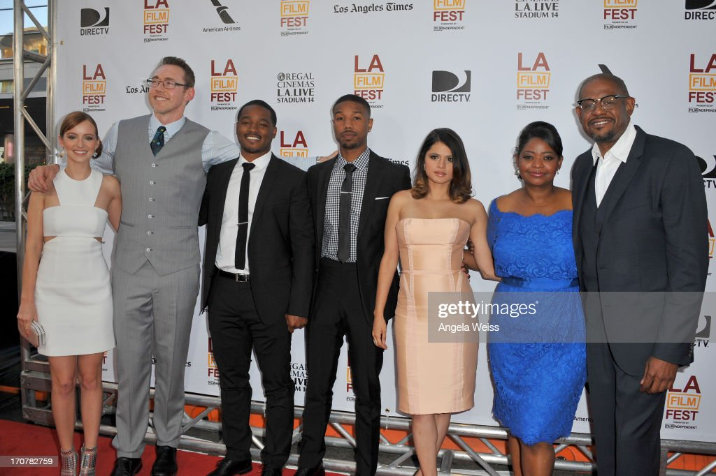Actors Ahna O'Reilly, Kevin Durand, Director Ryan Coogler, actors Michael B. Jordan, Melonie Diaz, Octavia Spencer and producer Forest Whitaker arrive at the premiere of The Weinstein Company's 'Fruitvale Station' during the 2013 Los Angeles Film Festival at Regal Cinemas L.A. Live on June 17, 2013 in Los Angeles, California.