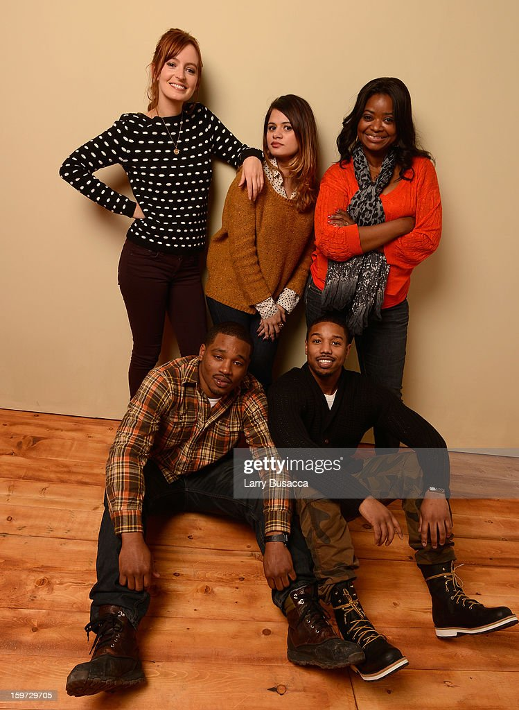 Actors Ahna O'Reilly, Melonie Diaz, Octavia Spencer, (L-R bottom) director Ryan Coogler and actor Michael B. Jordan pose for a portrait during the 2013 Sundance Film Festival at the Getty Images Portrait Studio at Village at the Lift on January 19, 2013 in Park City, Utah.