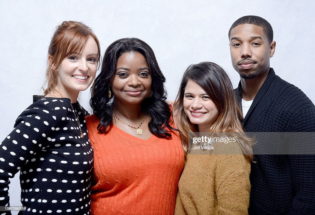 Actors Ahna O'Reilly, Octavia Spencer, Melonie Diaz, and Michael B. Jordan pose for a portrait during the 2013 Sundance Film Festival at the WireImage Portrait Studio at Village At The Lift on January 19, 2013 in Park City, Utah.