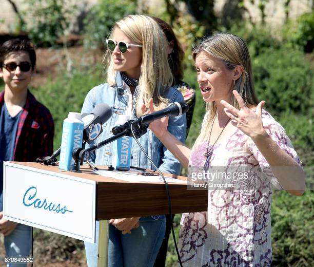 Actors Aidan Gallagher Sarah Wright Olsen and Amy Smart attend Caruso hosts a community garden in honor of Earth Day in partnership with...