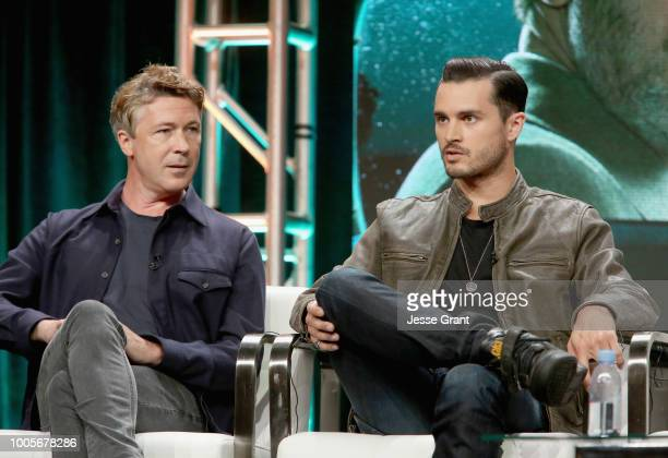 Actors Aidan Gillen and Michael Malarkey of 'Project Blue Book' speak onstage during The 2018 Summer Television Critics Association Press Tour on...