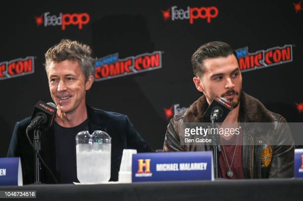 Actors Aidan Gillen and Michael Malarkey speak during HISTORYs Project Blue Book NYCC Panel 2018 at the Jacob Javits Convention Center on October 6...