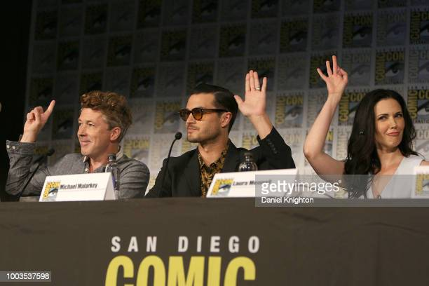 Actors Aidan Gillen Michael Malarkey and Laura Mennell attend the Project Blue Book panel at ComicCon International on July 21 2018 in San Diego...