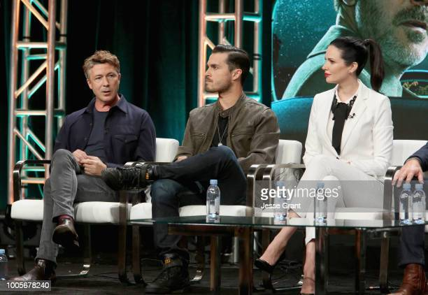 Actors Aidan Gillen Michael Malarkey and Laura Mennell of 'Project Blue Book' speak onstage during The 2018 Summer Television Critics Association...