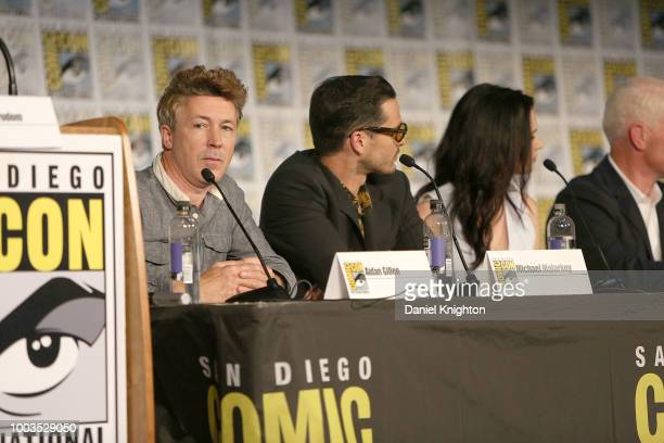 Actors Aidan Gillen Michael Malarkey Laura Mennell and Neal McDonough attend the Project Blue Book panel at ComicCon International on July 21 2018 in...