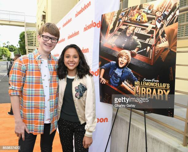 Actors Aidan Miner and Breanna Yde at Nickelodeon's 'Escape From Mr Lemoncello's Library' premiere event at Paramount Studios on September 25 2017 in...