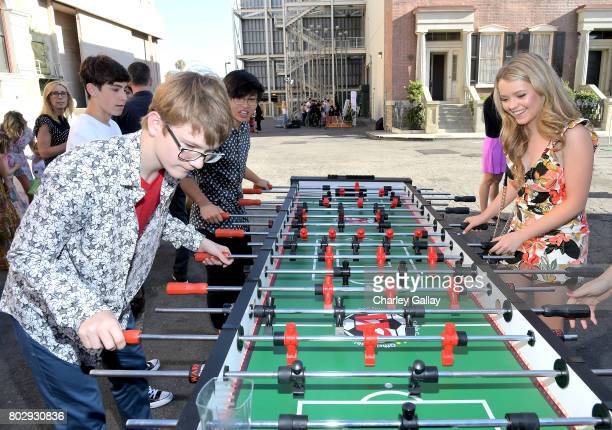 Actors Aidan Miner and Jade Pettyjohn celebrate the 100th episode of Nickelodeon's The Thundermans at Paramount Studios on June 28 2017 in Hollywood...