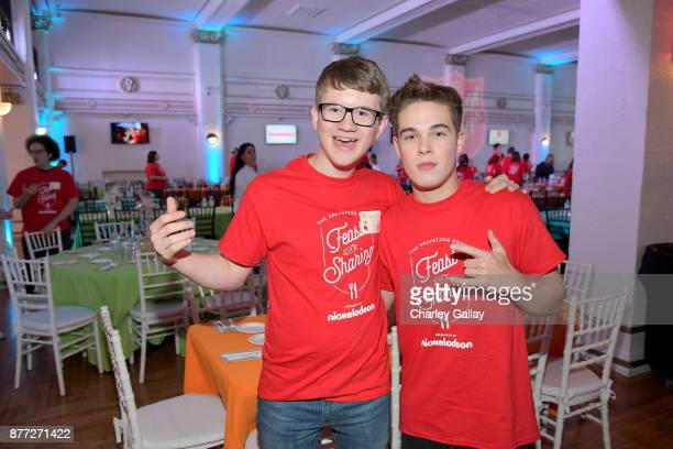 Actors Aidan Miner and Ricardo Hurtado attend The Salvation Army Feast of Sharing presented by Nickelodeon at Casa Vertigo on November 21 2017 in Los...