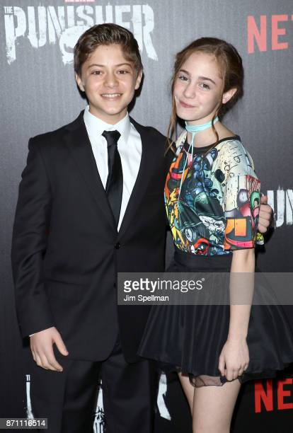 Actors Aidan Pierce Brennan and Ripley Sobo attend the 'Marvel's The Punisher' New York premiere at AMC Loews 34th Street 14 theater on November 6...