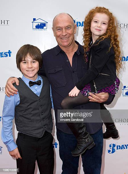 Actors Aidan Potter Corbin Bernsen and Francesca Capaldi attend the Los Angeles Premiere of '3 Day Test' at Downtown Independent Theatre on December...