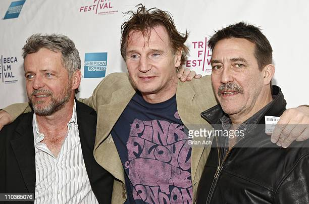 Actors Aidan Quinn Liam Neeson and Ciaran Hinds attend the 8th Annual Tribeca Film Festival The Eclipse premiere at the SVA Theatre on April 24 2009...