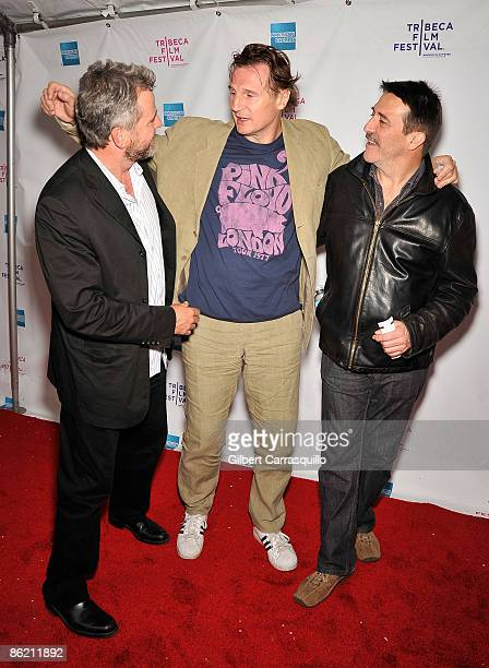 Actors Aidan Quinn Liam Neeson and Claran Hinds attend the 8th Annual Tribeca Film Festival 'The Eclipse' premiere at the SVA Theatre on April 24...