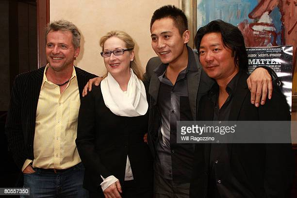 Actors Aidan Quinn Meryl Streep and Liu Ye and Director Chen ShiZheng attend a private screening of Dark Matter at the Tribeca Grill on April 7 2008...