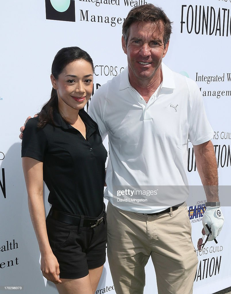 Actors Aimee Garcia (L) and Dennis Quaid attend the Screen Actors Guild Foundation 4th Annual Los Angeles Golf Classic at Lakeside Golf Club on June 10, 2013 in Burbank, California.