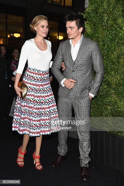 Actors Aimee Mullins and Rupert Friend attend the 11th Annual Chanel Tribeca Film Festival Artists Dinner at Balthazar on April 18 2016 in New York...