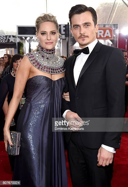 Actors Aimee Mullins and Rupert Friend attend The 22nd Annual Screen Actors Guild Awards at The Shrine Auditorium on January 30 2016 in Los Angeles...