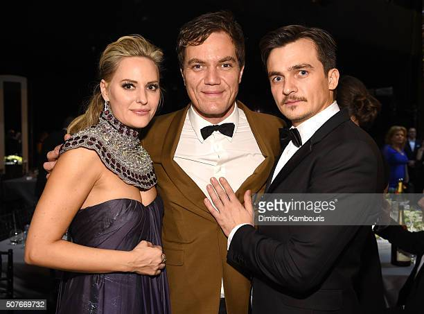 Actors Aimee Mullins Michael Shannon and Rupert Friend pose during The 22nd Annual Screen Actors Guild Awards at The Shrine Auditorium on January 30...