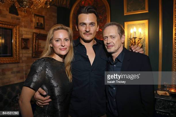Actors Aimee Mullins Rupert Friend and Steve Buscemi attend the reception for the film 'The Death of Stalin' at Pravda Vodka Bar during the 2017...