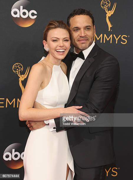 Actors Aimee Teegarden and Daniel Sunjata attend the 68th Annual Primetime Emmy Awards at Microsoft Theater on September 18 2016 in Los Angeles...