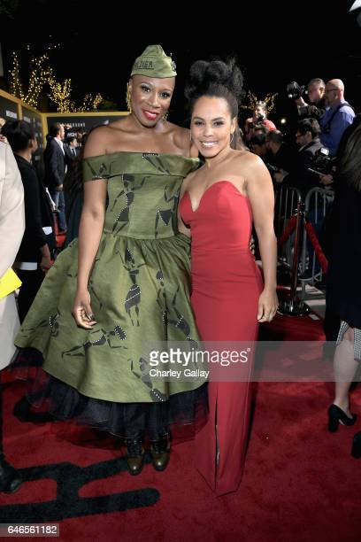 Actors Aisha Hinds and Amirah Vann attends WGN America's Underground Season Two Premiere Screening at Regency Village Theatre on March 1 2017 in...
