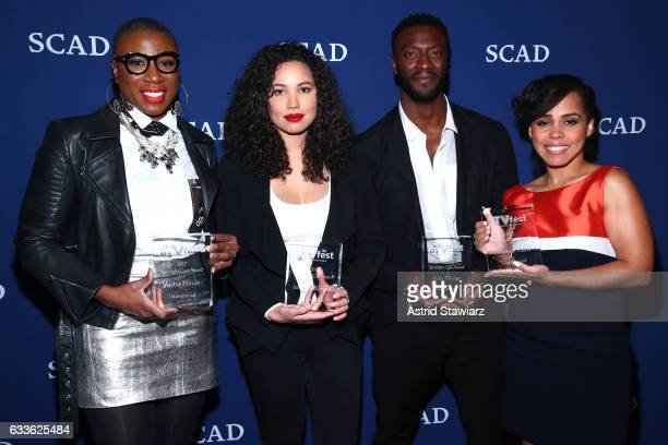 Actors Aisha Hinds Jurnee SmollettBell Aldis Hodge and Amirah Vann pose with their Cast Award for Underground backstage on Day One of aTVfest 2017...