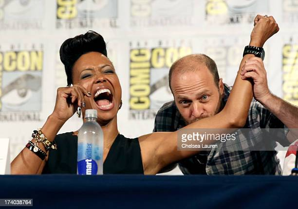 Actors Aisha Tyler and H Jon Benjamin speak onstage at the Archer screening and QA during ComicCon International 2013 at Hilton San Diego Bayfront...