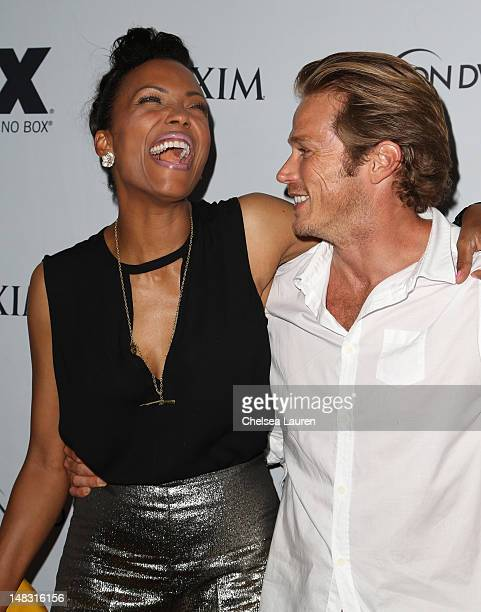 Actors Aisha Tyler and Jason Lewis attend the Maxim FX and Fox Home Entertainment ComicCon Party at Andaz on July 13 2012 in San Diego California