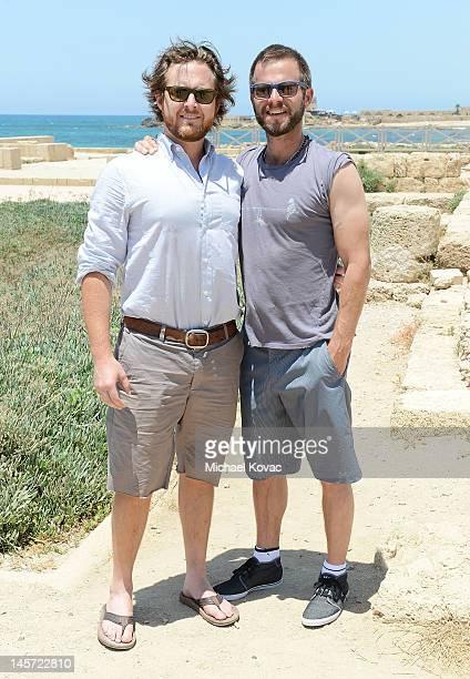 Actors AJ Buckley and Carmine Giovinazzo visit Caesarea on June 1 2012 in Caesarea Israel