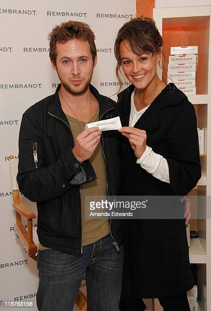 Actors AJ Buckley and Sharni Vinson attend The Belvedere Luxury Lounge in honor of the 80th Academy Awards featuring Rembrandt held at the Four...