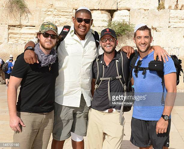 Actors AJ Buckley Omar Benson Miller Carmine Giovinazzo and Jonathan Togo visit the Western Wall on June 4 2012 in Jerusalem Israel