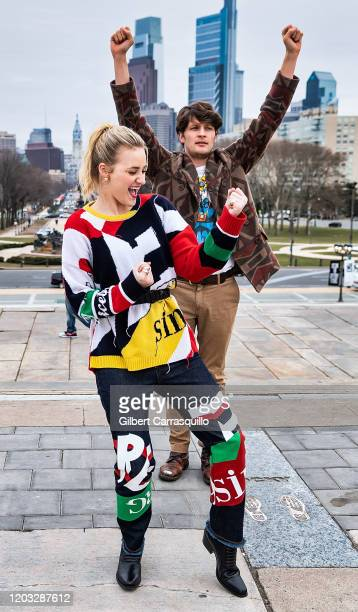 Actors AJ Michalka and Brett Dier of the ABCTV comedy show Schooled are seen running up The Rocky Steps at The Philadelphia Museum of Art on January...