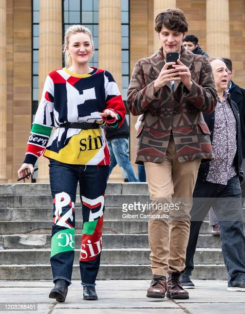 Actors AJ Michalka and Brett Dier of the ABCTV comedy show Schooled are seen at The Rocky Steps at The Philadelphia Museum of Art on January 31 2020...