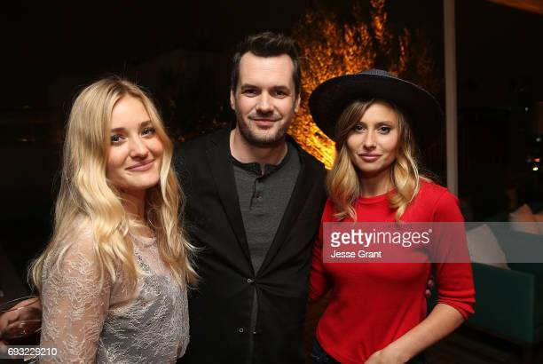 Actors AJ Michalka Jim Jefferies and Aly Michalka attend the Comedy Central premiere party for The Jim Jefferies Show on June 6 2017 in West...
