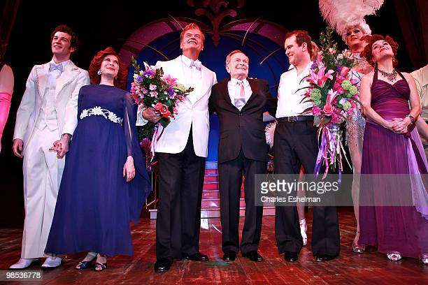 Actors AJ Shively Cheryl Stern Kelsey Grammer composer Jerry Herman actors Douglas Hodges and Christine Andres perform in the opening of La Cage Aux...