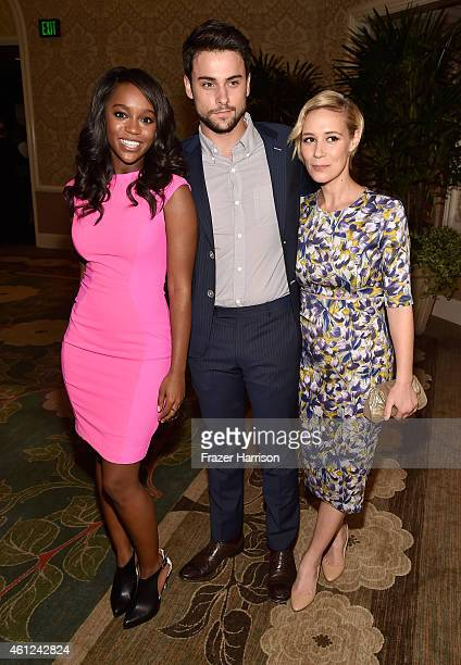 Actors Aja Naomi King Jack Falahee and Liza Weil attend the 15th Annual AFI Awards at Four Seasons Hotel Los Angeles at Beverly Hills on January 9...