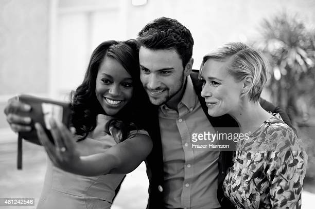 Actors Aja Naomi King Jack Falahee and Liza Weil take a selfie at the 15th Annual AFI Awards at Four Seasons Hotel Los Angeles at Beverly Hills on...