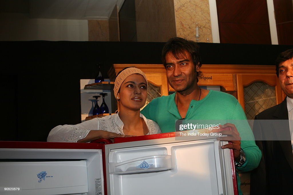 Actors Ajay Devgan and Kajol during the promotion of Whirlpool home appliances at ShangriLa hotel