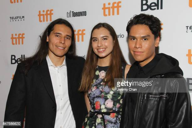 Actors Ajuawak Kapashesit Eva Greyeyes and Forrest Goodluck attend the 'Indian Horse' premiere during the 2017 Toronto International Film Festival at...