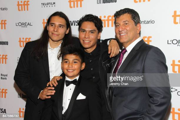 Actors Ajuawak Kapashesit Sladen Peltier Forrest Goodluck and director Stephen S Campanelli attend the 'Indian Horse' premiere during the 2017...