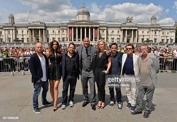 Actors Aksel Hennie Irina Shayk director Brett Ratner and actors Dwayne Johnson Ingrid Bolso Berdal Reece Ritchie Ian McShane and John Hurt attend...