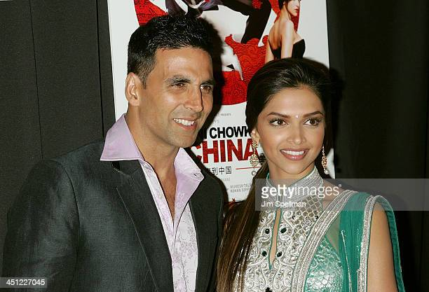 Actors Akshay Kumar and Deepika Padukone attend the premiere of Chandni Chowk to China at the AMC Empire 25 on January 8 2009 in New York City