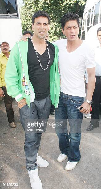 Actors Akshay Kumar and Shah Rukh Khan on the sets of the film Blue in Mumbai on Friday September 18 2009