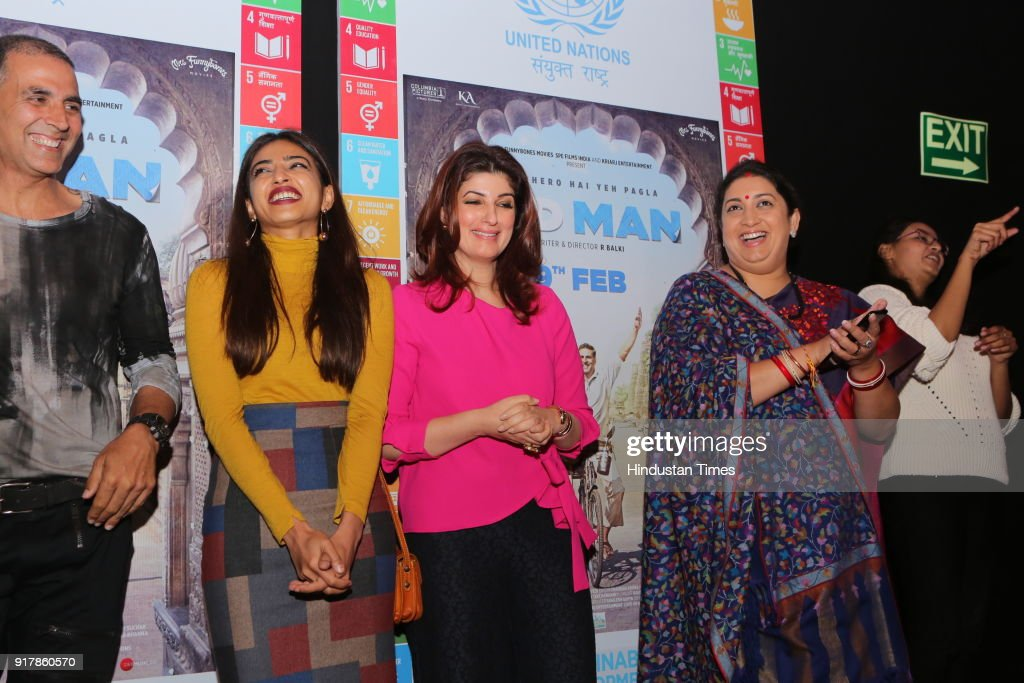 actors Akshay Kumar Radhika Apte and Twinkle Khanna with Information and Broadcasting and Textiles Minister Smriti Irani during the screening of the..
