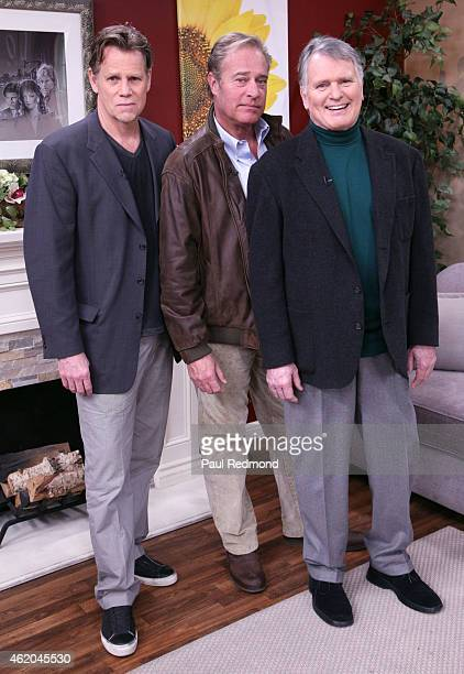 Actors Al Corley John James and Gordon Thomson photographed on the set of 'Dynasty' Reunion on 'Home Family' at Universal Studios Backlot on January...