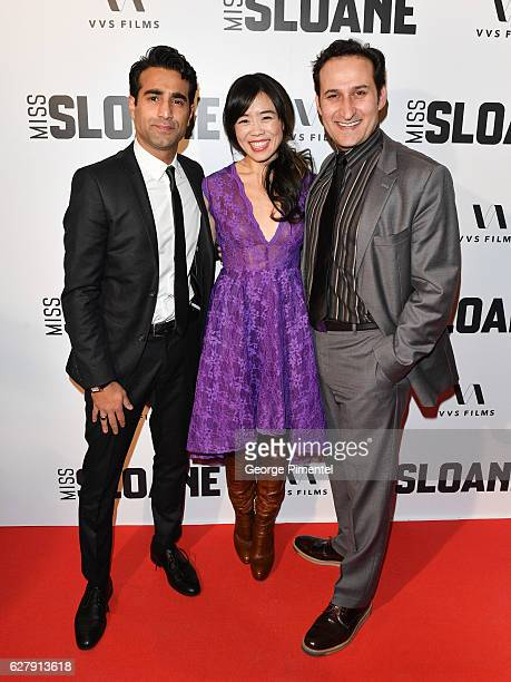 Actors Al Mukadam Grace Lynn Kung and Raoul Bhaneja attends Miss Sloane Toronto Premiere held at Isabel Bader Theatre on December 5 2016 in Toronto...