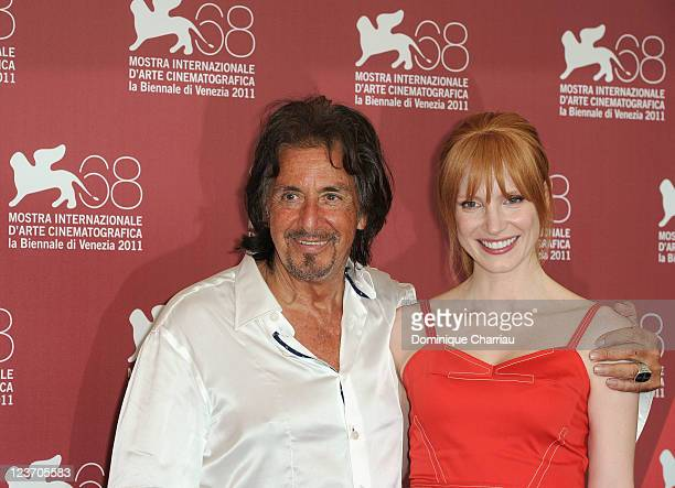 Actors Al Pacino and Jessica Chastain attend the Jaeger LeCoultre Glory To The Filmmaker Award and Wild Salome Photocall during the 68th Venice...