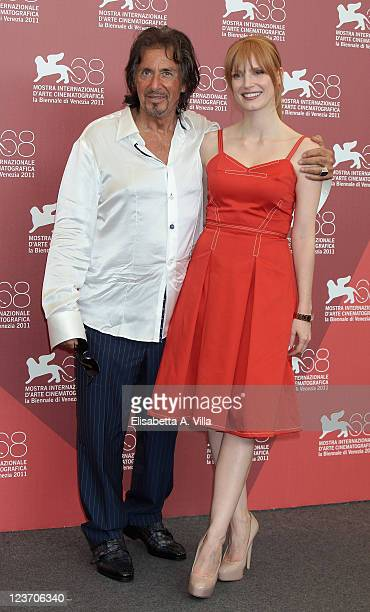 Actors Al Pacino and Jessica Chastain pose at the 'Wild Salome' photocall during the 68th Venice Film Festival at Palazzo del Cinema on September 4...