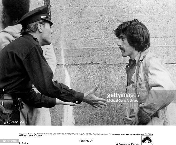 Actors Al Pacino and John Stewart on set of the Paramount Pictures movie 'Serpico' in 1973