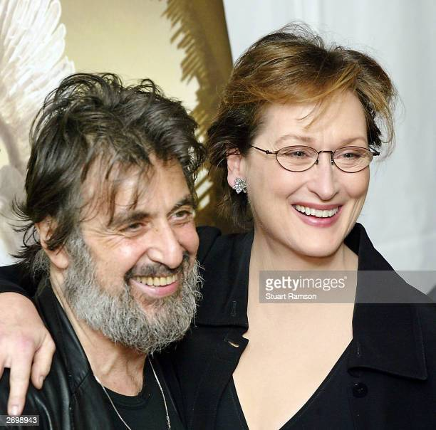 Actors Al Pacino and Meryl Streep arrive at the premiere of their new film Angels in America November 4 2003 in New York City