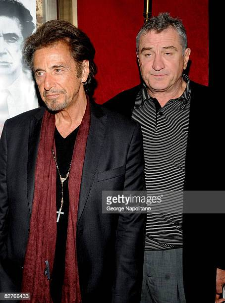 Actors Al Pacino and Robert De Niro attend the New York premiere of 'Righteous Kill' at the Ziegfeld Theater on September 10 2008 in New York City